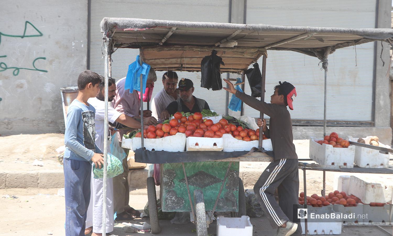 مواطنون يشترون الطماطم من بائع جوال في مدينة الرقة - 11 تموز 2020 (عنب بلدي/عبد العزيز الصالح)