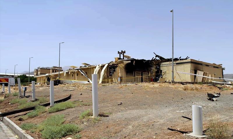 """تظهر صورة نشرتها منظمة الطاقة الذرية الإيرانية مصنعًا تضرر في منشأة """"نطنز"""" لتخصيب اليورانيوم- 2 من تموز (فرانس برس)."""