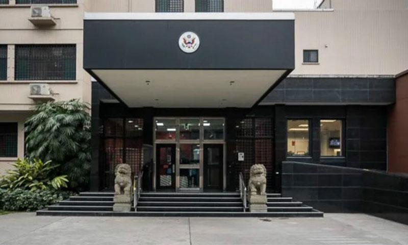 مبنى القنصلية الأمريكية في تشنغدو 27 من تموز 2020 (CCTV)