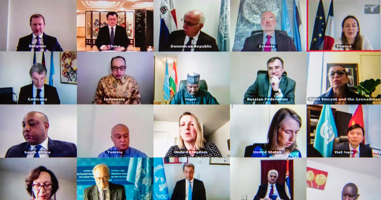 أعضاء مجلس الأمن خلال جلسة افتراضية مفتوحة