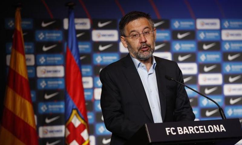 رئيس نادي برشلونة الإسباني، جوسيب ماريا بارتوميو خلال تصريحاته اليوم- 26 من تموز (fcbarcelona)