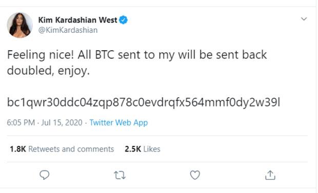 تغريدة من حساب كيم كاردشيان بعد الاختراق طالبت بتحويل الأموال (تويتر)