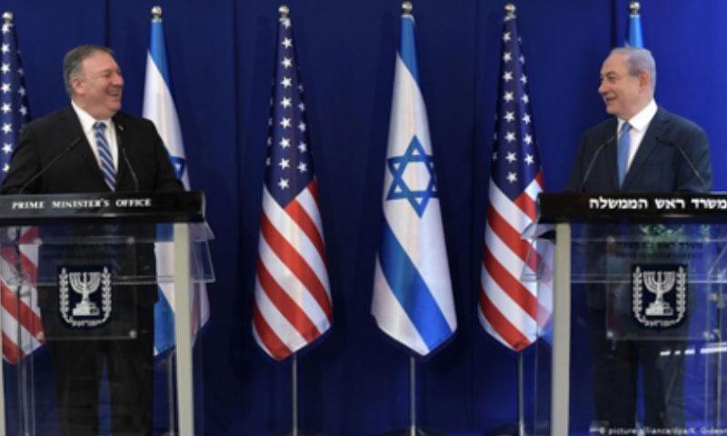 رئيس الوزراء الإسرائيلي بينيامين نتنياهو ووزير الخارجية الأمريكي مايك بومبيو (DPA)