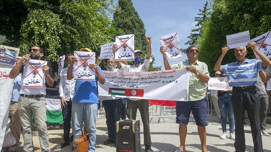 وفقة احتجاجية في العاصمة تونس للتنديد بالاتفاقية الإماراتية- الإسرائيلية- 22 آب (الأناضول)