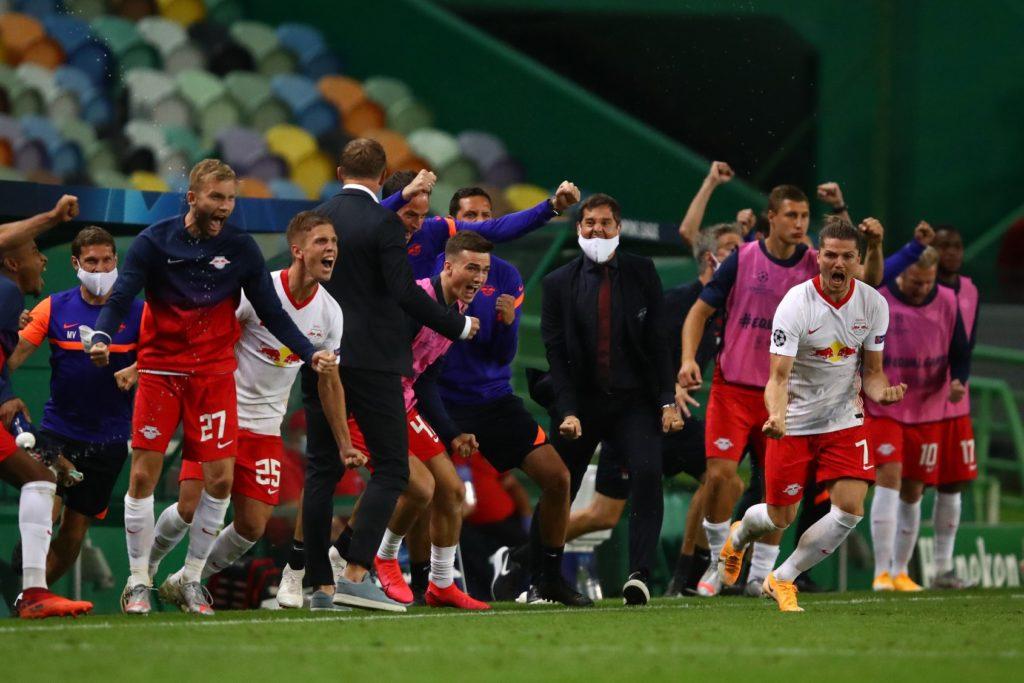لاعبو نادي لايبزيغ بعد التأهل إلى نصف نهائي دوري أبطال أوروبا 13 من آب 2020 (صفحة النادي)