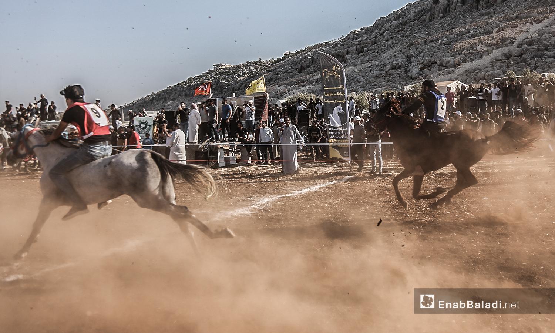 وصول أولى المتسابقين لخط النهاية  في مهرجان سرمد للخيول العربية الأصيلة في مدينة سرمدا بشمال إدلب - 28 آب 2020 (عنب بلدي / يوسف غريبي)