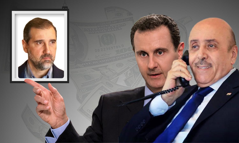 رئيس النظام السوري بشار الأسد، ومدير الأمن الوطني علي مملوك ورامي مخلوف (تعديل عنب بلدي)