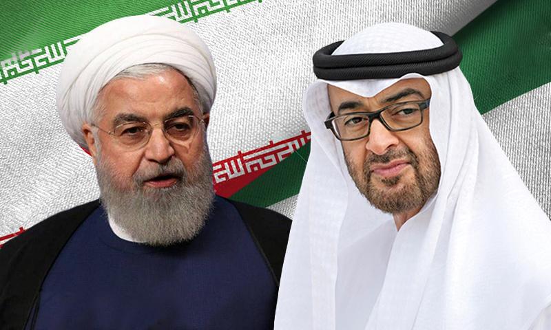 ولي عهد الإمارات محمد بن زايد والرئيس الإيراني حسن روحاني (تعديل عنب بلدي)