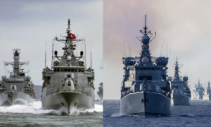 سفن حربية تركية ويونانية (تعديل عنب بلدي)