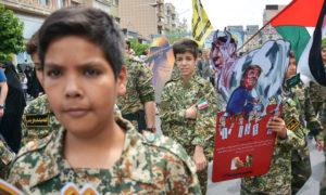 أعضاء في قوة شبه عسكرية إيرانية يتجمعون في طهران في مايو. سبحان فراجفان / نور فوتو / جيتي إيماجيس