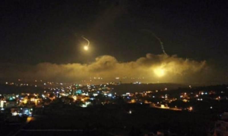 القنابل الضوئية في سماء لبنان 25 من آب 2020 (القناة 13 الإسرائيلية)