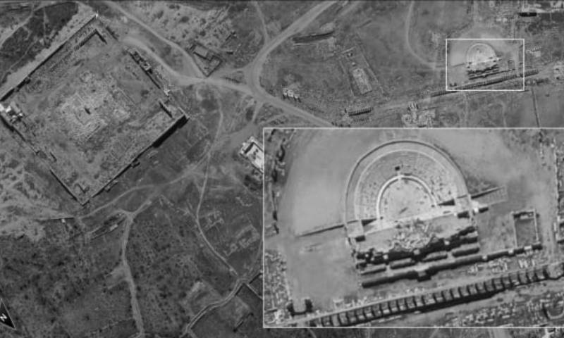 صور القمر الصناعي أفق 16 لمدينة تدمر الأثرية 25 من آب 2020 (القناة 13 الإسرائيلية)