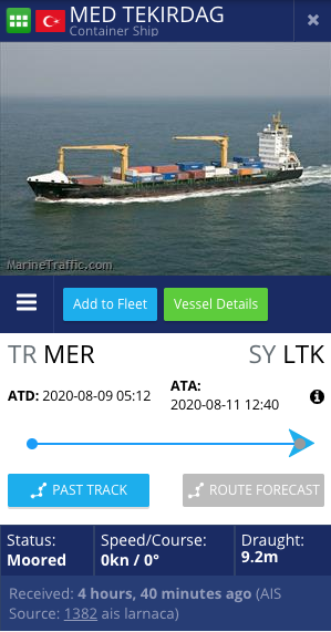 بيانات سفينة تركية ترسو في ميناء اللاذقية - 11 من آب 2020 (MarineTraffic)