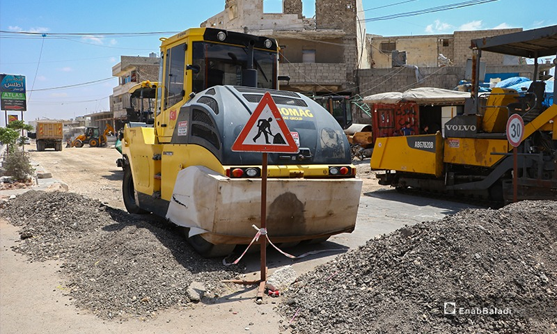 تعبيد الطرق في مدينة الباب - 10 آب 2020(عنب بلدي/عاصم ملحم)