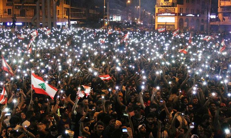 من مظاهرات الثورة اللبنانية 2020 (تويتر)