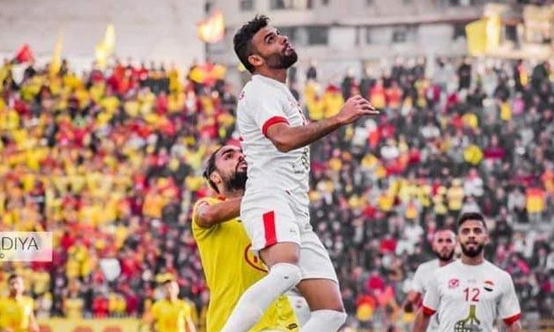 اللاعب شعيب العلي من مباراة تشرين والطليعة حزيران 2020 (صفحة اللاعب في فيس بوك)