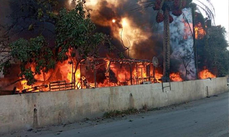 حريق في مخيم للاجئين السوريين، منطقة العاقبية لبنان 26 من أيلول
