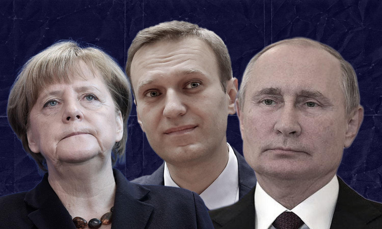 المستشارة الألمانية أنغيلا ميركل والرئيس الروسي، فلادييمير بوتين (تعديل _ عنب بلدي)