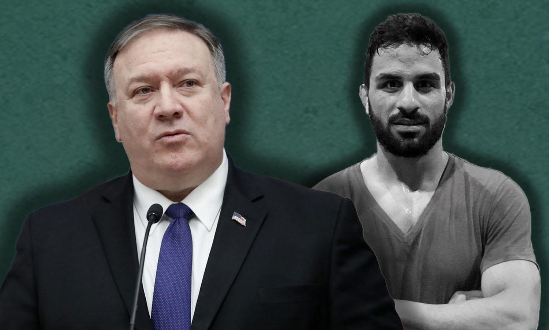 المصارع الإيراني، نويد أفكاري، ووزير الخارجية الأمريكية، مايك بومبيو (تعديل_ عنب بلدي)