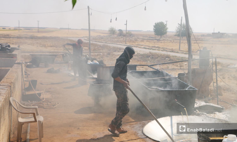 ينقل العصير الناتج لأحواض الغلي - 17 أيلول 2020 (عنب بلدي/ عبد السلام مجعان)