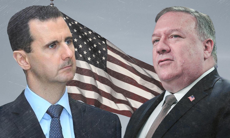 وزير الخارجية الأمريكي مارك بومبيو ورئيس النظام السوري بشار الأسد (تعديل عنب بلدي)