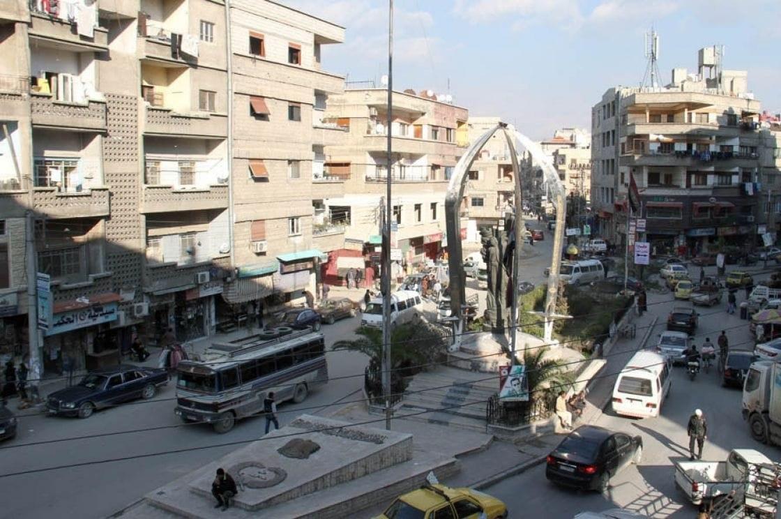 ساحة الخضر في مدينة جرمانا في ريف دمشق (بلدي نيوز)