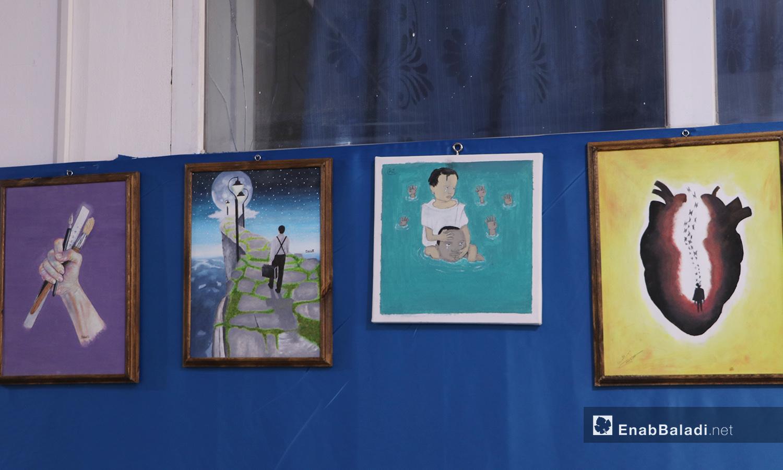 لوحات المشاركين بمعرض الرسم في مدينة الباب - 22 أيلول 2020 (عنب بلدي/ عاصم الملحم)