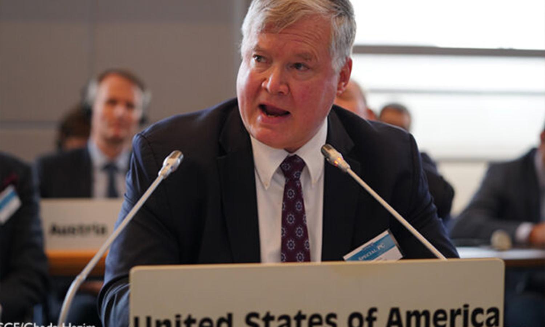 نائب وزير الخارجية الأمريكية ستيفن بيغون يلقي كلمة في اجتماع المجلس الدائم الخاص بشأن بيلاروسيا في فيينا 28 من تموز - 2020 (OSCE)