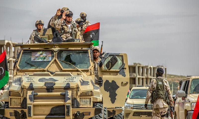 مقاتلون من الجيش الوطني التابع لخليفة حفتر أيار 2020 (الميادين)