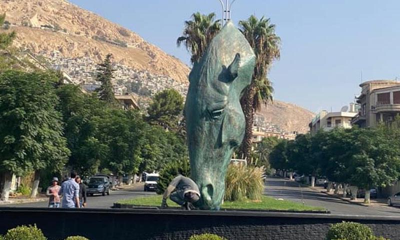 تمثال الحصان في ساحة المالكي في العاصمة السورية دمشق 20 من أيلول 2020 (محافظة دمشق)
