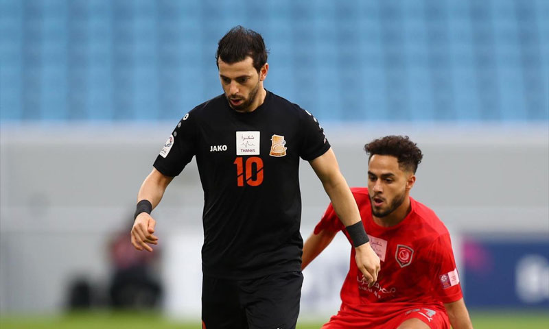 محمود المواس بقميص أم صلال القطري 13 من أيلول 2020 (صفحة اللاعب في فيس بوك)