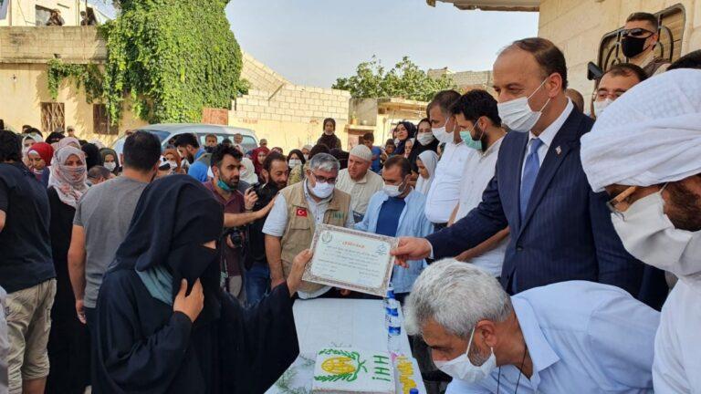 افتتاح مركزين لتحفيظ القرآن في منزل عائلة محي الدين عيسو برأس العين، المصدر: وكالة أنباء تركيا، 2020.