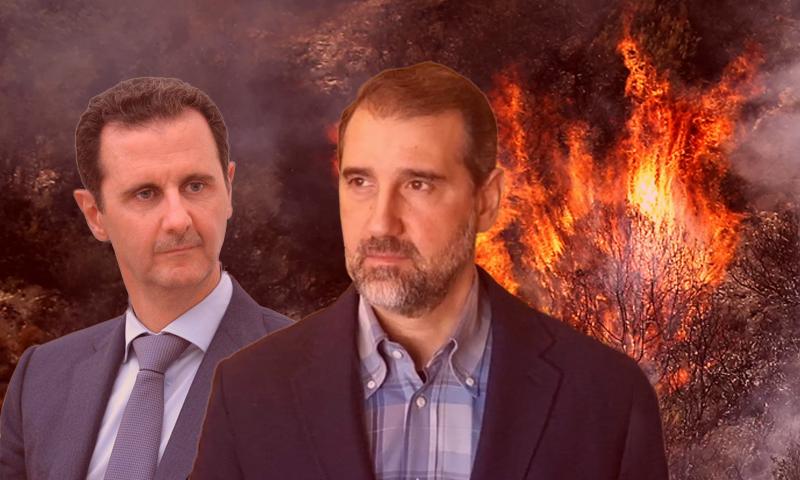 رئيس النظام السوري بشار الأسد وابن خاله رجل الأعمال رامي مخلوف (تعديل عنب بلدي)
