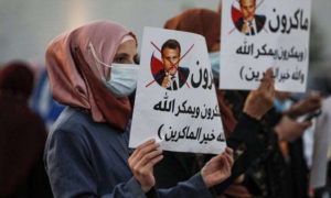 متظاهرون يحتجون على تصريحات الرئيس الفرنسي إيمانويل ماكرون (La Repubblica 25)
