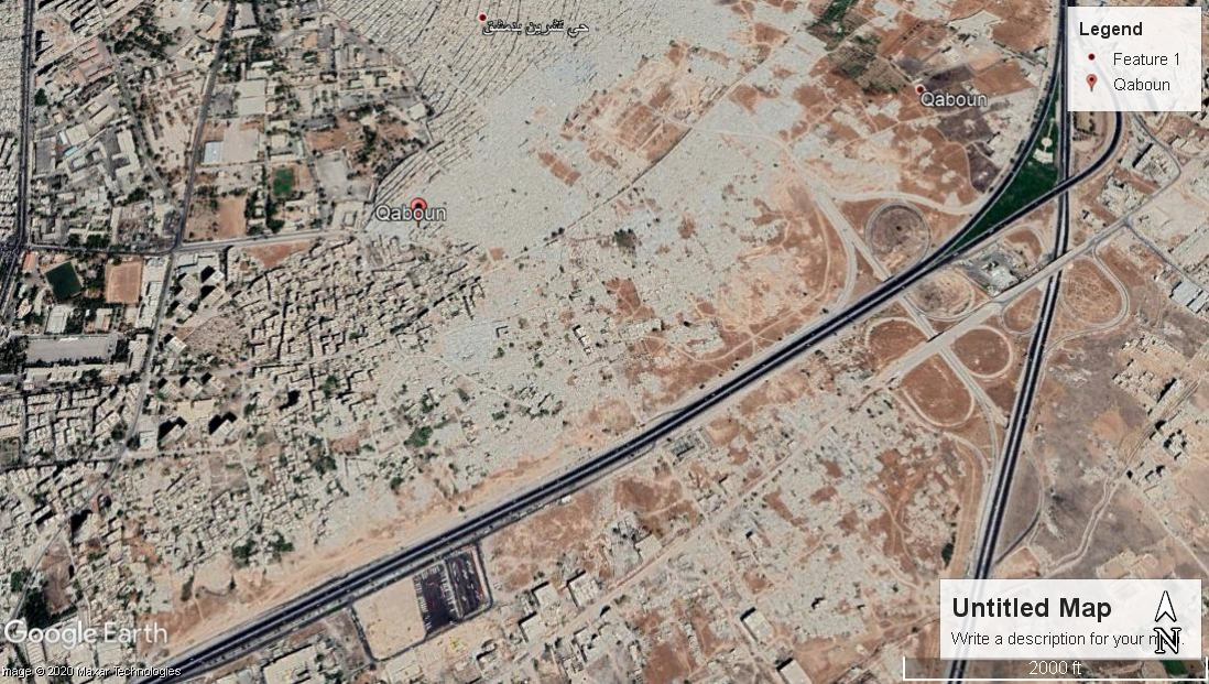 لقطة لحي القابون من خرائط غوغل بتاريخ 30 أيلول 2019.