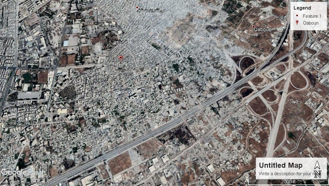 لقطة لحي القابون من خرائط غوغل بتاريخ 6 أيار 2017.