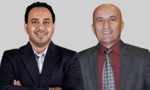 رئيس اتحاد كرة القدم السوري حاتم الغايب ورئيس نادي الوحدة ماهر السيد (تعديل عنب بلدي)