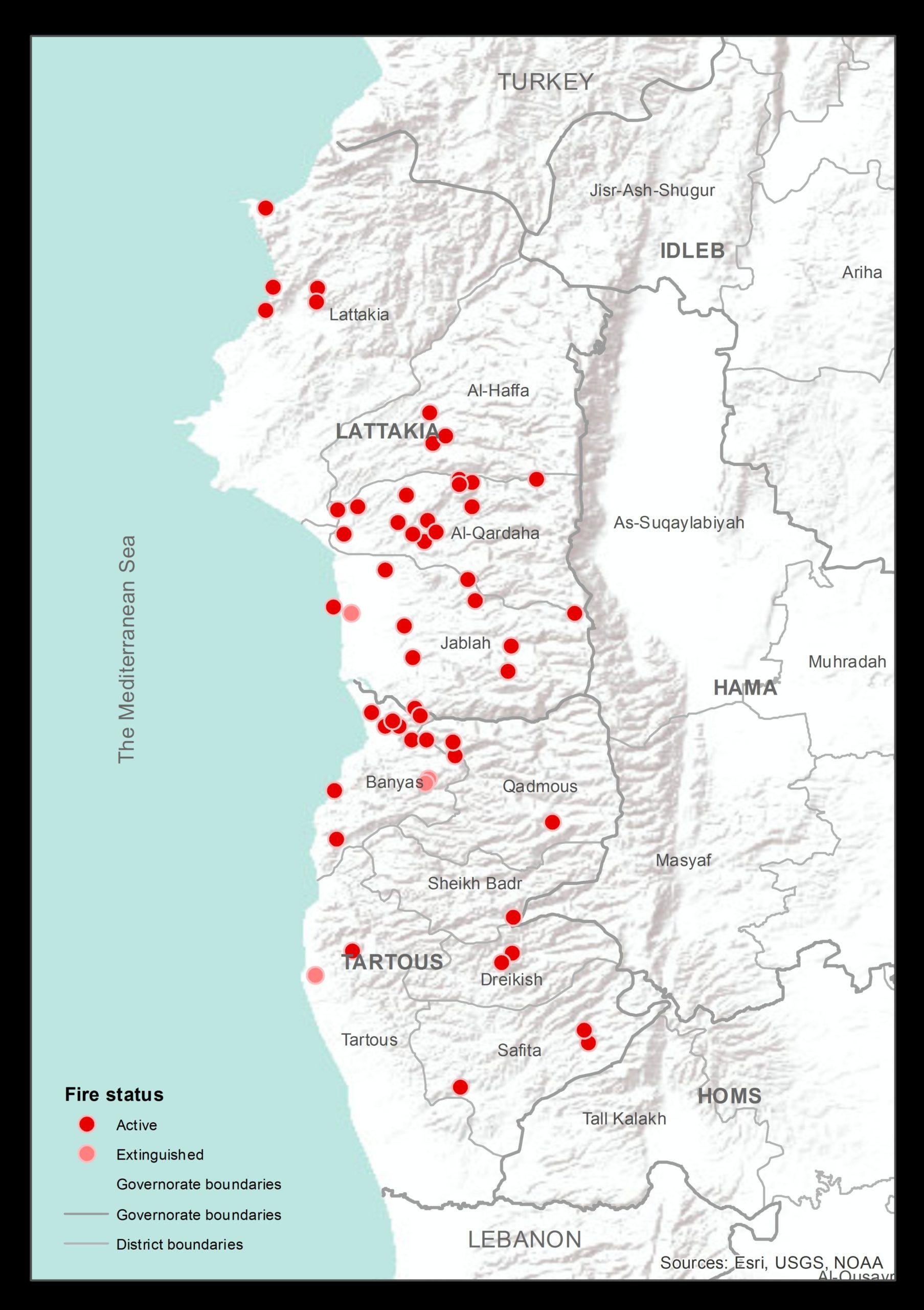 خريطة تظهر توزع أبرز الحرائق في الساحل السوري (مكتب الأمم المتحدة لتنسيق الشؤون الإنسانية)