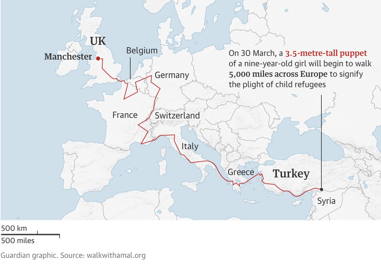 خريطة مسير الدمية أمل (The Guardian)
