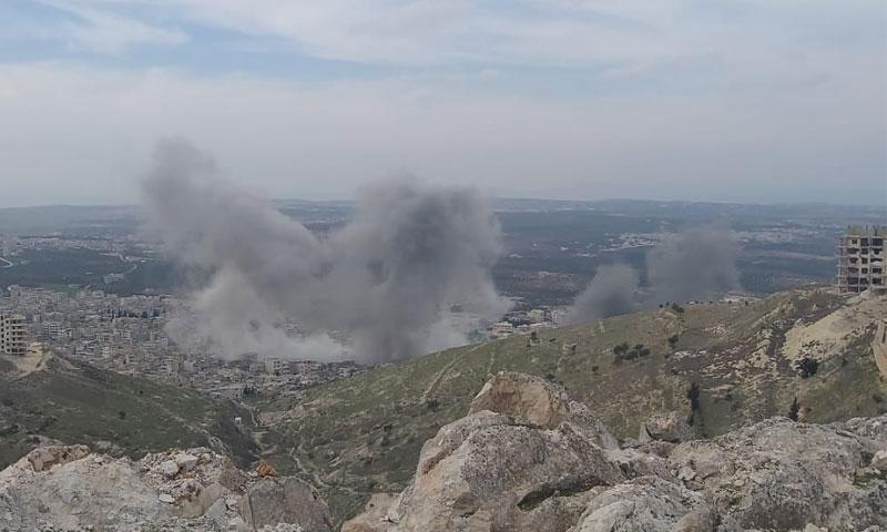 لحظة القصف على أريحا 27 من تشرين الأول 2020 (قناة أريحا اليوم في تلغرام)