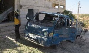 من آثار القصف الروسي على ريف إدلب 21 من تشرين الأول 2020 (الدفاع المدني السوري/ فيس بوك)