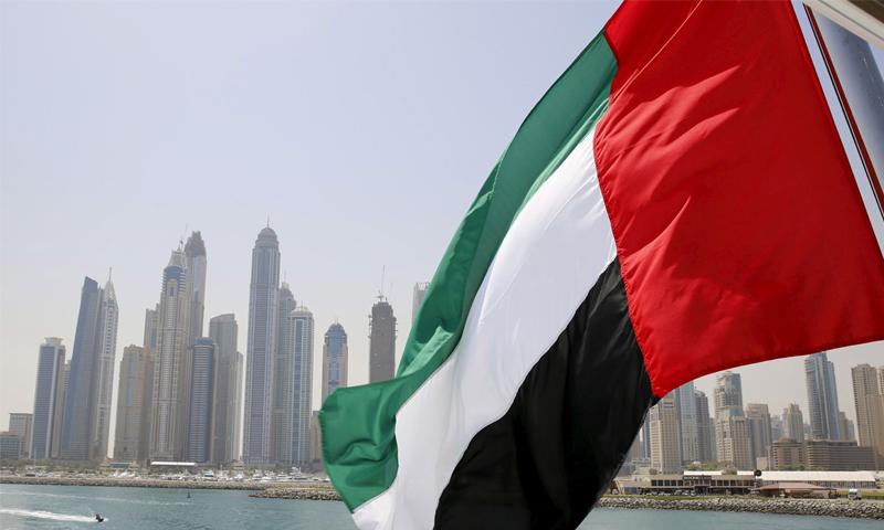 علم الإمارات العربية المتحدة وخلفه ساحل إمارة دبي (رويترز)
