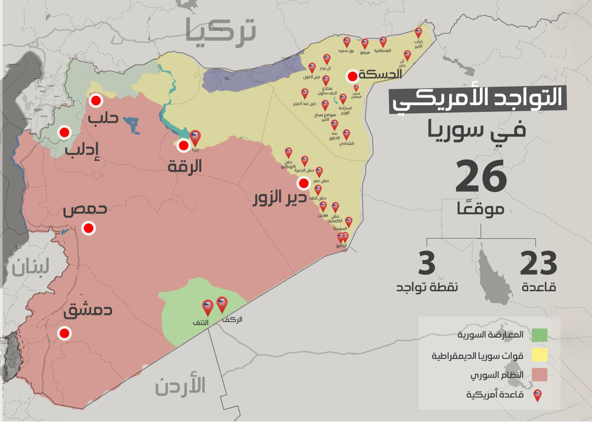 خريطة تظهر توزع القواعد الأمريكية في شرقي سوريا (عنب بلدي)