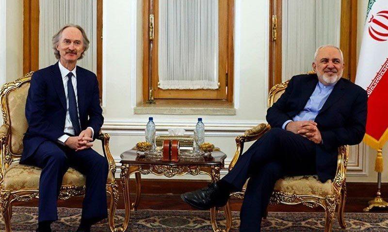 وزير الخارجية الإيراني محمد جواد ظريف، والمبعوث الدولي إل سوريا غير بيدرسون، 21 من تشرين الثاني، (وكالة تسنيم)