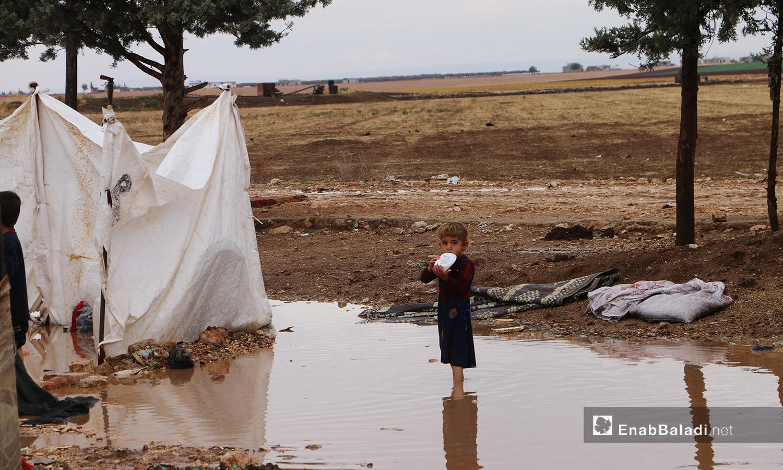 """طفل يقف وسط منخفض تجمع به ماء المطر في مخيم """"الفلاح"""" بريف حلب الشمالي  - 4 تشرين الثاني 2020 (عنب بلدي/ عبد السلام مجعان)"""