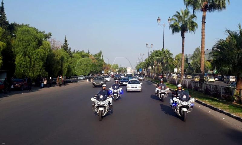 شرطة مرور على دراجات أمام موكب تشييع جثمان وزير الخارجية السوري وليد المعلم - 16 من تشرين الثاني 2020 (سانا)