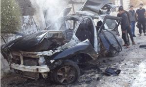 استهداف سيارة شرطي بعبوة ناسفة في قرية حمامة بريف جسر الشغور - 16 تشرين الأول 2020 (الدفاع المدني)