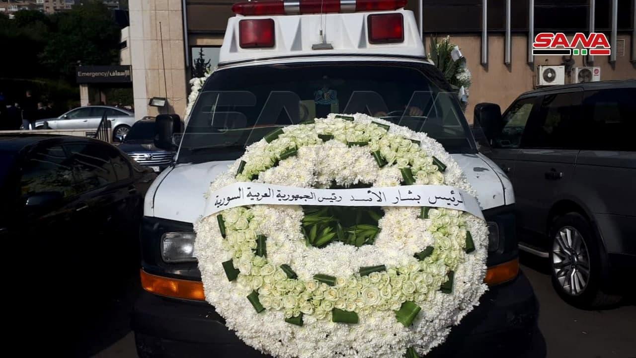 ورود من رئيس النظام السوري بشار الأسد على سيارة إسعاف تنقل جثمان وزير الخارجية السوري الراحل وليد المعلم 16 من تشرين الثاني 2020 (سانا)