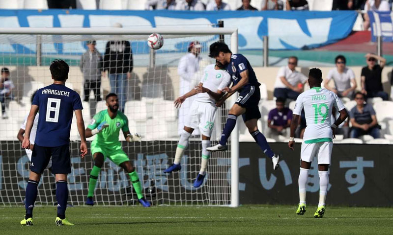 لقطة من مباراة منتخبي اليابان والسعودية في كأس آسيا 2019 في الإمارات (Goal)