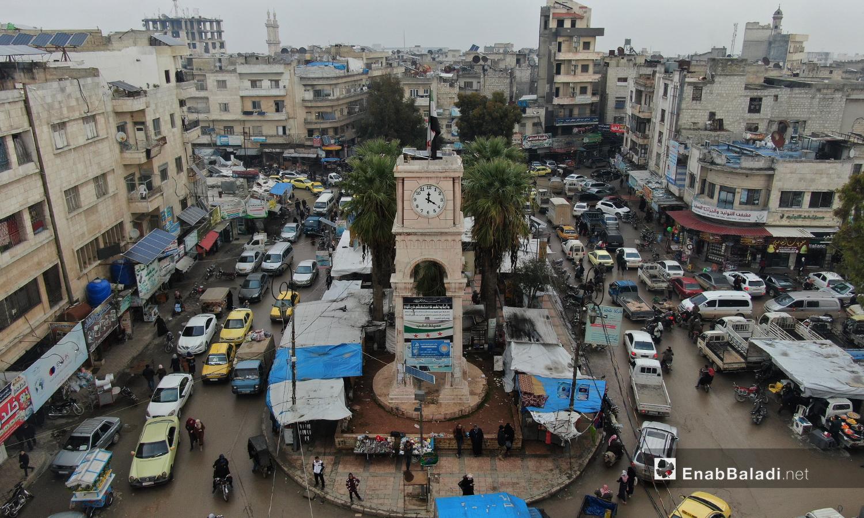 ساحة الساعة المشهورة في مدينة أدلب -24 تشرين الأول 2020(عنب بلدي /يوسف غريبي)